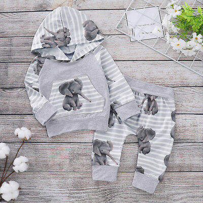 AU21.92 • Buy Newborn Baby Girl Boy Cute Cartoon Elephant Hooded Tops Pants Outfit Set Clothes
