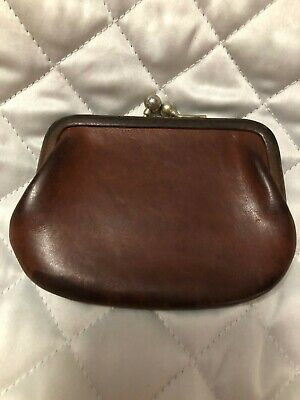 $8.50 • Buy Vintage Coach Tan Soft Leather Kiss-Lock Frame Coin Purse Change Pouch