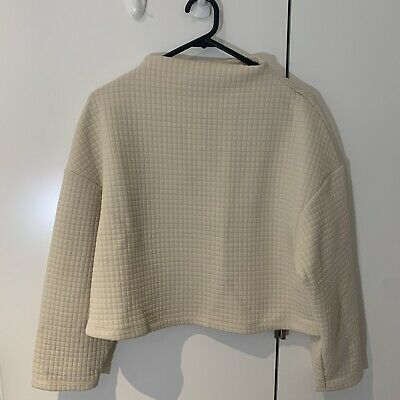 AU14.90 • Buy Zara Ivory Quilted Sweater In Size S