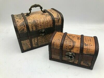 Marked Rustic Wooden Box Colonial Style Trunk Treasure Chest Vintage Storage Map • 8.99£