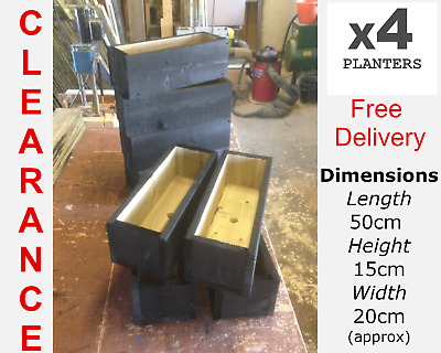 CLEARANCE SALE - 4 X GARDEN/HERB PLANTERS-PAINTED CUPRINOL BLACK-FREE DELIVERY • 30£
