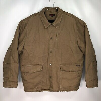 £28.94 • Buy Men's XL - Wolverine Brown Duck Canvas Snap Front Soft Fleece Lined Shirt Jacket