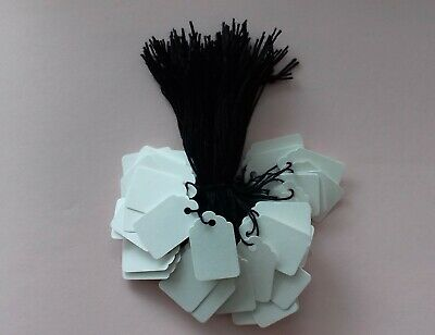 100 White Strung Price Tickets 33mm X 22mm Small Tags Swing Labels Black String  • 1.95£