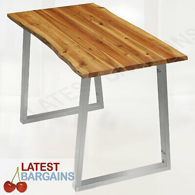 AU208.76 • Buy Wooden Dining Table Timber Stainless Steel Furniture Industrial Style Kitchen