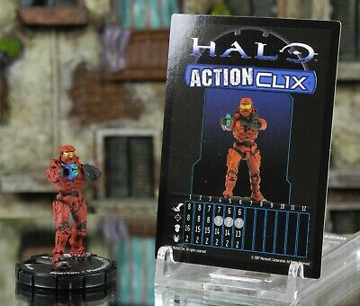 Halo ActionClix #009 Red Spartan With SMG And Plasma Pistol W/ Card WizKids • 2.49£