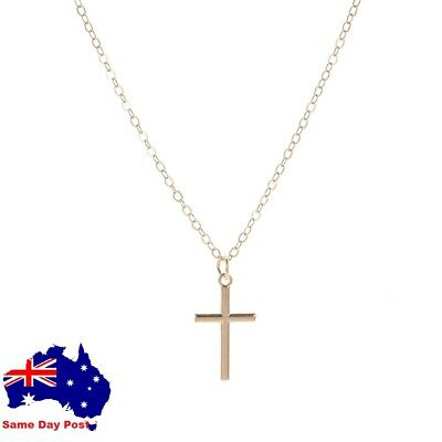 AU6.95 • Buy Small Silver Or Gold Plated Cross Necklace Pendant  Drop Necklace Chain