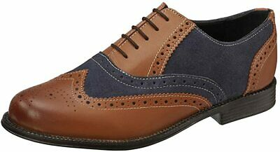 Clifford James Mens Real Leather Comfortable Two Tone Lace Up Brogue UK Size 9 • 29.99£