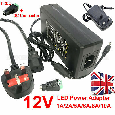 £8.64 • Buy Ac Dc 12v 1a-10a Power Supply Adapter Charger For Camera / Led Strip Light Cctv