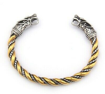 Men's Stainless Steel Viking Gold Wolf Norse Cuff Bracelet Bangle • 14.99£