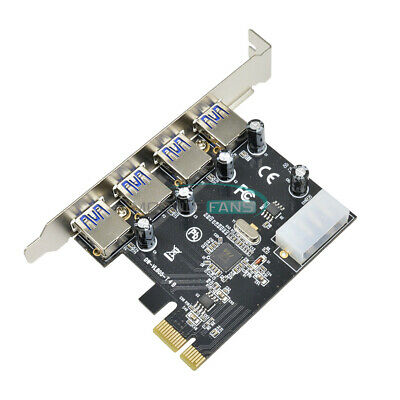 $1.35 • Buy 4 Port PCI-E To USB 3.0 HUB PCI Express Expansion Card Adapter 5 Gbps Speed Top