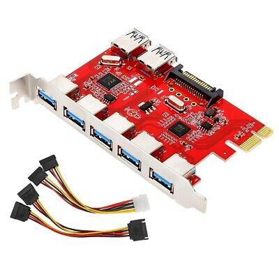 $21.99 • Buy 15Pin SATA Connector Superspeed 7 Ports PCI-E To USB 3.0 Expansion Card