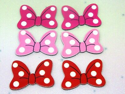 Spotty Bow Resin Flatback Cabochon Planar Embellishment X6 Craft Bow Scrapbook • 2.99£