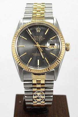 $ CDN8245.29 • Buy Rolex Datejust 16233 Jubilee 36mm 18K Yellow Gold /SS Rare Tuxedo Dial Mint