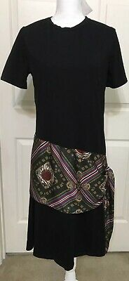 $22.71 • Buy NWT Zara Size XL Black Green Gold Short Sleeve Ties At Hips Dress Women's