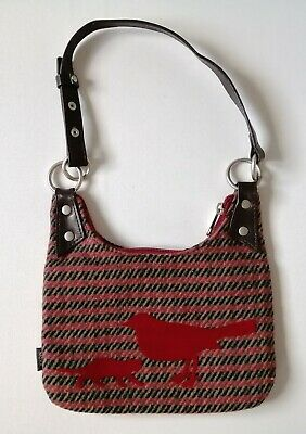 Mexx Cute Tweed Wool Small Hand Bag / Purse / Pouch - Brown Black Red Bird Cat • 6.50£