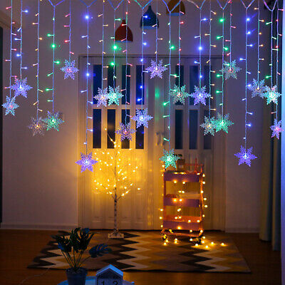 Xmas LED Snowflake Fairy String Window Curtain Lights Waterproof Outdoor Decor • 7.85£