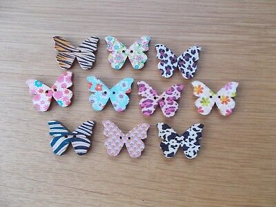 10 X Butterfly Shaped Multi Colours Wooden Buttons 2 Hole   Random Mixed • 1.79£
