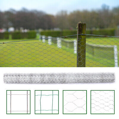 Galvanised Chicken Wire Mesh Fence Net Netting Fencing Coop Cages Runs Pens • 15.95£