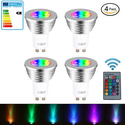 12x GU10 4W 16 Color Changing RGB Dimmable LED Light Bulbs Lamp RC Remote Spot • 10.98£