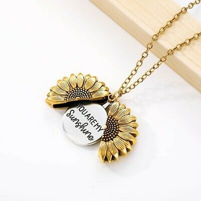 AU14.90 • Buy 2 Tone Gold & Silver  You Are My Sunshine  Daisy Flower Pendant Chain Necklace
