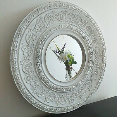 Contemporary 40 Cm White Round Moroccan Wall  Mirror Distressed Wall Mirror New • 14.50£