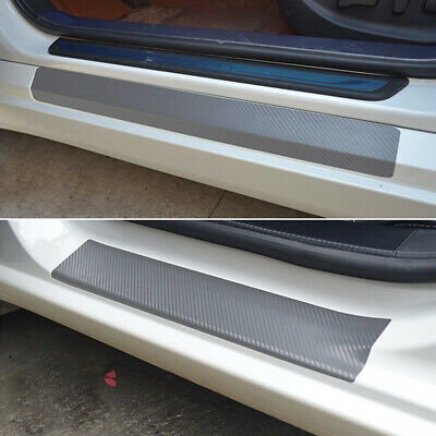 $ CDN4.49 • Buy 4Pcs Car Door Sill Scuff Silver Carbon Fiber Sticker Welcome Pedal Protect Parts