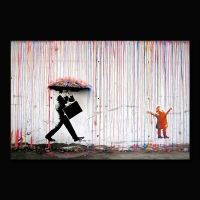 AU15.24 • Buy Banksy Art Colorful Rain Wall Art Painting Bright Color Canvas Abstract Painting