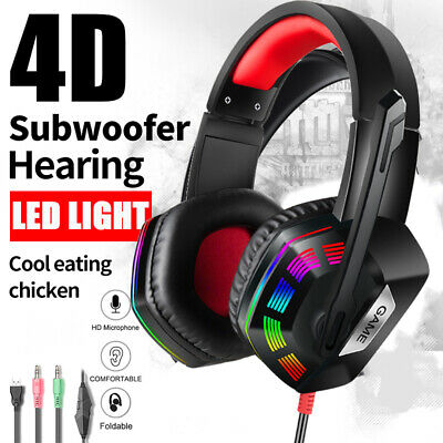 Gaming Headset 3.5mm Wired Mic Stereo Surround Headphone For Laptop Xbox One PS4 • 13.67£
