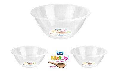 Plastic Mixing Bowl Clear Round Baking Cooking Kitchen Salad Fruit Serving 20/28 • 7.99£