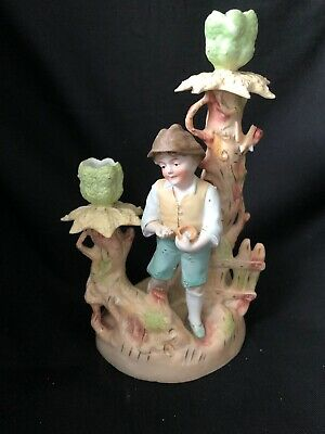 $ CDN24.99 • Buy Antique German? Porcelain Figurine Candlestick BOY WITH BIRDS NEST Eggs Tree