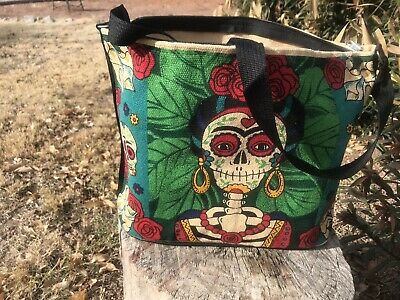 "$19.99 • Buy Hand Bag Or Book Bag With Mexican Day Of The Dead Print, ""Frida Kahlo"" Skeleton"
