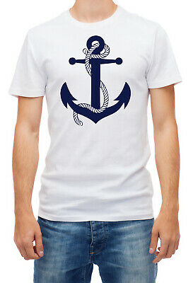 Navy Blue Sailor Anchor Short Sleeve White Men T Shirt K152 • 6.90£