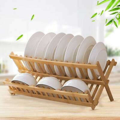 Folding Dish Drainer Bamboo Sink Rack Wooden Bowl Plate Cup Dryer Stand Holder • 10.99£