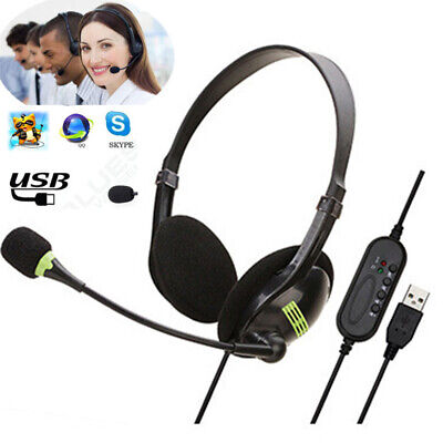 USB Headphones With Microphone Noise Cancelling Headset For Skype PC Laptop NEW= • 9.30£