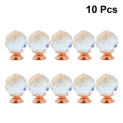 10pcs Crystal Diamond Door Knobs Transparent Glass Clear Cabinet Drawer Handle • 10.39£