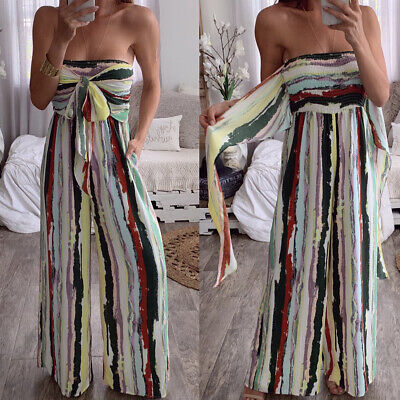 Womens Striped Bandeau Jumpsuit Wide Leg Loose Playsuit Ladies Casual Trousers • 10.16£