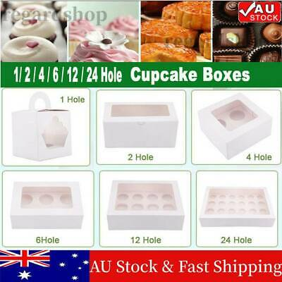 AU59.98 • Buy Cupcake Boxes 1/2/4/6/12/24 Holes Window Face Cake Boxes Boards Cupcake Box Gift