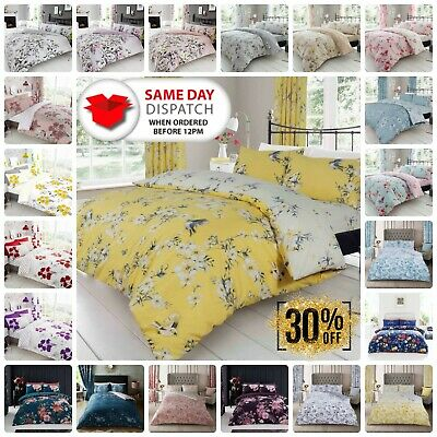 £14.25 • Buy Birdie Blossom Flower Duvet Cover Set Quilt Reversible With Pillow Case All Size