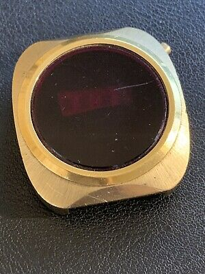 $ CDN47.37 • Buy Vintage Mens LED Watch Not Running Nice Crystal And Gold Case For Parts