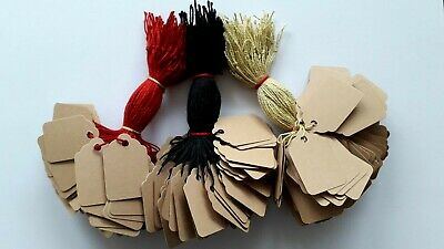 100 Buff Strung Price Labels 33mm X 22mm Small Tags Swing Tickets  • 1.85£