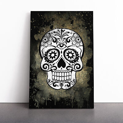 Sugar Skull Tattoo (5) Framed Canvas Print Wall Art Picture Large Home Decor • 19.95£