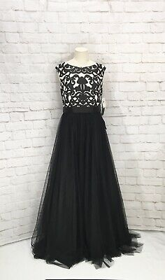 $95 • Buy NWT Aidan Mattox Black And White Embroidered Dress Ball Gown Prom Size 8 New