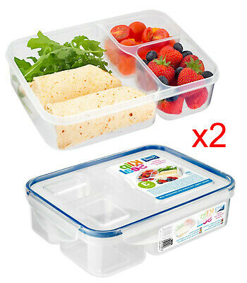 3 Compartment Food Storage Containers Meal Prep Box Plastic Lunch Clip Lock X 2 • 8.99£