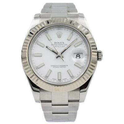 $ CDN11993.93 • Buy Rolex Datejust II 116334 White Dial With Fluted Bezel On Oyster Bracelet - 41mm