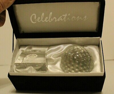 Celebrations Crystal ''GOLF BALL'' Trophy Display Stand Paperweight Glass • 19.35£