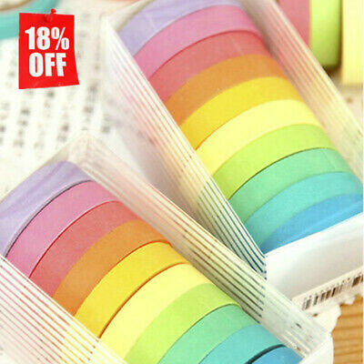 AU3.51 • Buy 10 Rolls Paper Washi Masking Tape Rainbow Colours Sticky Decoration DIY W/