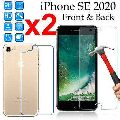 AU8.50 • Buy X2 Tempered Glass 9H Guard Screen Protector Apple IPhone SE 2020 Front Film Back