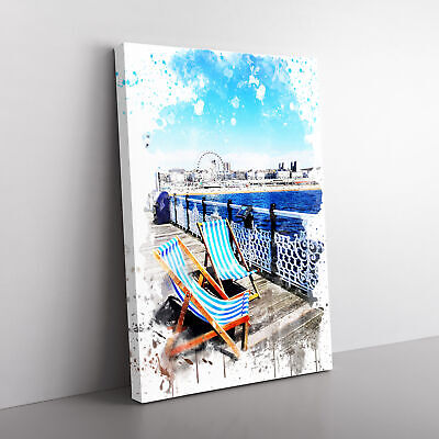£24.95 • Buy Deckchairs Brighton Beach Pier V3 Framed Canvas Print Wall Art Picture Large