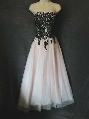 $69.99 • Buy NWT Gothic Fairy Tale Pale Pink Black Strapless Formal Long Ball Gown Dress 5/6