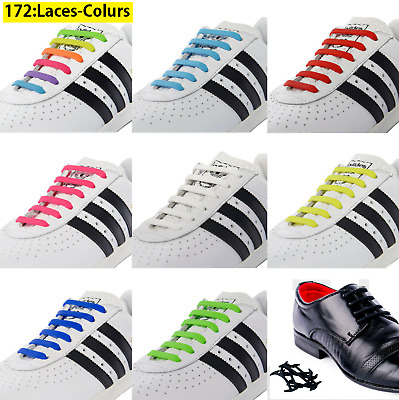 No Tie Elastic Silicone System Lock Shoes Laces Shoelaces Adults Kids Runner UK